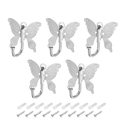 (Coat Hooks Wall Mounted Metal Hooks Butterfly Style Coat Hanger 5 PCS)