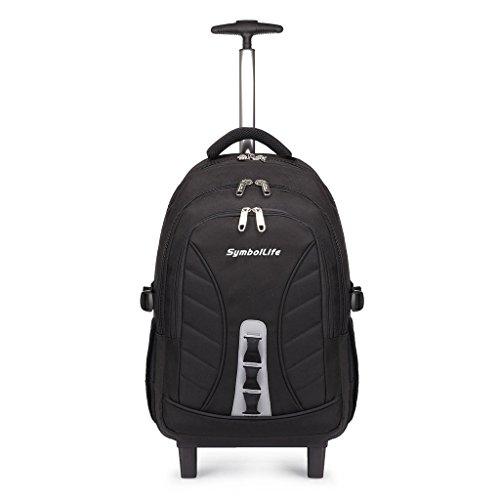 SymbolLife business wheeled backpacks business rucksack mit den Trolleys modern Notebook Laptoptasche Schulrucksack Business Reisetrolley Business Bag 18 zoll, 47*33*22cm, Schwarz