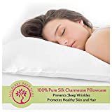 Pure Silk Pillowcase, 100% Mulberry Silk, Oeko-TEX Certified, Envelope Style Closure Hides Pillow, Prevents Sleep Wrinkles, Protects Hair, Standard Size (20 by 26 inch) - White