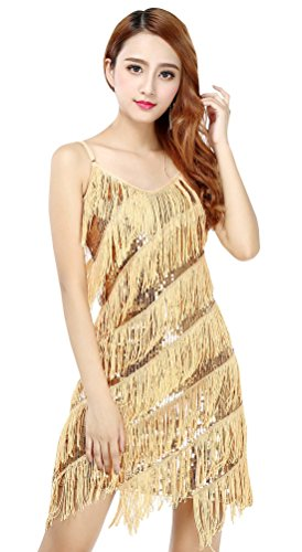 Women's Sexy Halter Flapper Dress Sexy Sequins Tassel Dance Dress for Latin Rumba Cha Cha Samba Dance Gold