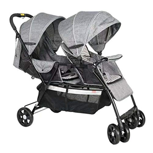 Cloud Lightweight Double Stroller, Side by Side Tandem Umbrella Stroller, Easy Folding Pram, 360° Turning Tandem Double Toddler, Suitable for 2 Kids (Color : Gray)