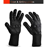 GS Tools 932ºF (500ºC) Extreme Heat Resistant BBQ Gloves, Oven Mitts, Black Aramid Fiber with Silicone, Durable and Comfortable Gloves for Grilling, Baking, Cooking, Oven