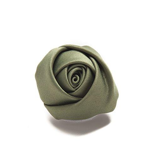 Jacob Alexander Satin Rose Lapel Flower Boutonniere - Olive - Olive Rose Collection