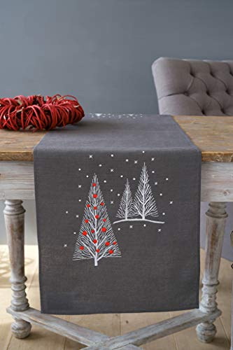 Vervaco Christmas Trees Table Runner Stamped Embroidery Kit