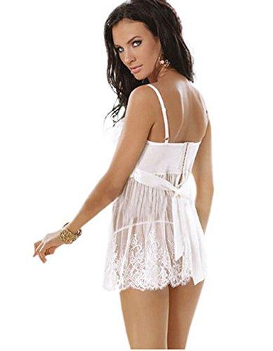 Czj-Innovation De las mujeres Lencería con Bowknot Perspectiva Ropa Interior Pijama con Cordón �?Blanco