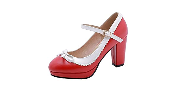 New Women Mary Jane Gothic Chunky High Block Heel Lace Up Lolita Platform Shoes