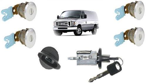 Ford Econoline Van (E150~E250~E350) Keyed Door Locks & Keyed Ignition Switch Cylinder Lock Set For Cargo & Club Wagon Passenger Van 1997-2012 ()