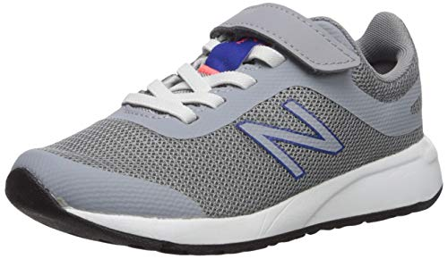 (New Balance Boys' 455v2 Hook and Loop Running Shoe, Steel/Team Royal, 8.5 M US Toddler)