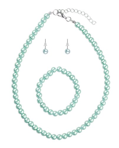 NYFASHION101 Girl's Children's Simulated Pearl Necklace with Stretch Bracelet and Ball Stud Earrings, Powder Blue