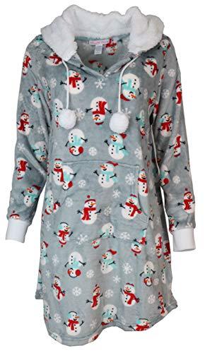Pillow Talk Women's Super Plush Hooded Lounge Sleep Top (Large, Jolly Snowmen)