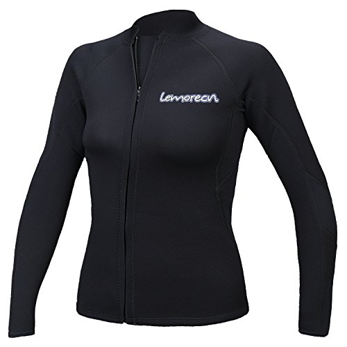 Lemorecn Women's 2mm Wetsuits Jacket Long Sleeve Neoprene Wetsuits - Wetsuit Top