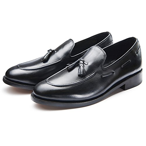 Samuel Windsor Men's Handmade Goodyear Welted Italian Leather Tasselled Loafer Shoes in Black, Tan Brown and Navy Blue Suede. (12, Black)