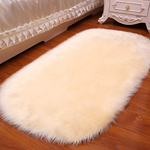 - WONNA Sweet Oval Rug Super Soft Faux Sheepskin Fur Carpet Shaggy Plush Carpet for Entry, Mud Room, Back Door, Bathroom,High Traffic Areas