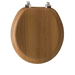MAYFAIR Natural Oak Veneer Toilet Seat with Chrome Hinges, ROUND, 9601CP
