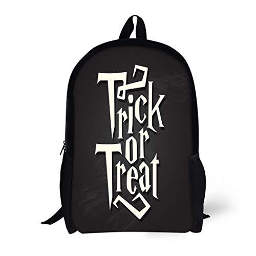 (Pinbeam Backpack Travel Daypack Spooky Trick Treat Halloween Quote on Black Chalkboard Waterproof School)