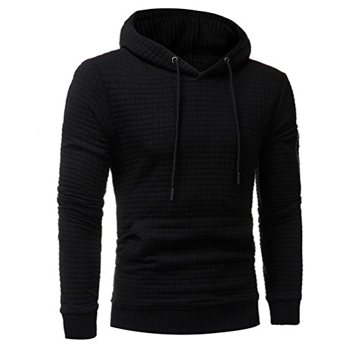 Winter Mens' Lightweight Long Sleeve Hoodie Sweatshirt Tops Causal Jacket with Hood Coat Sport Outwear (Black, XXL) by Sinzelimin