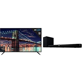 "TCL 75R617 75-Inch 4K Ultra HD Roku Smart LED TV (2019 Model) and TCL Alto 7+ 2.1 Channel Home Theater Sound Bar with Wireless Subwoofer - TS7010, 36"", Black (B07R1ZHV5D) 