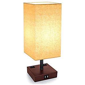 3-Way Touch Control Dimmable Table Lamp with 2 USB Charging Ports, 2 AC Outlets