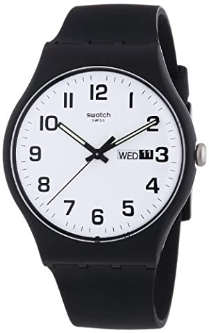 Swatch Twice Again White Dial Plastic Silicone Quartz Unisex Watch SUOB705 (Sport Swatch Men)