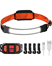 Rechargeable Headlamp Flashlight, Lightweight 1000LM 230°Wide-Beam Head Flashlights with Taillight & 4 Clips, 3 Modes COB Head Light for Camping, Cycling, Hiking, Running for Adults