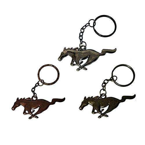 (West Bond 3pcs Alloy Metal Running Horse Pony Gunmetal Antique Copper Antique Bronze Key Chain Keyring Keychain Car Auto Compatible Fit for Ford Mustang Cars)