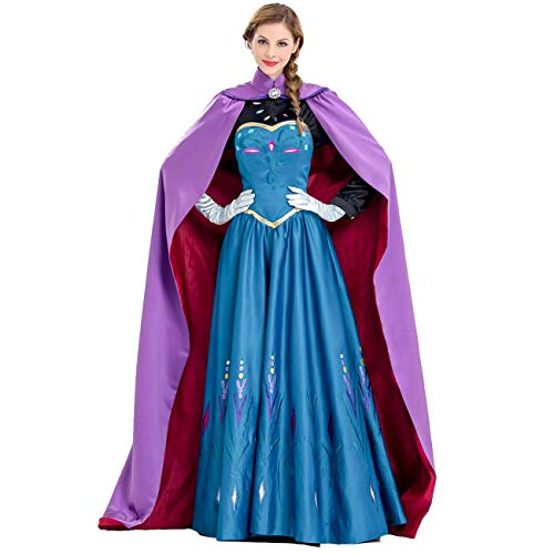 AQTOPS Adult Princess Snow Queen Costumes Halloween Cosplay Dress Up, Purple, XX-Large -