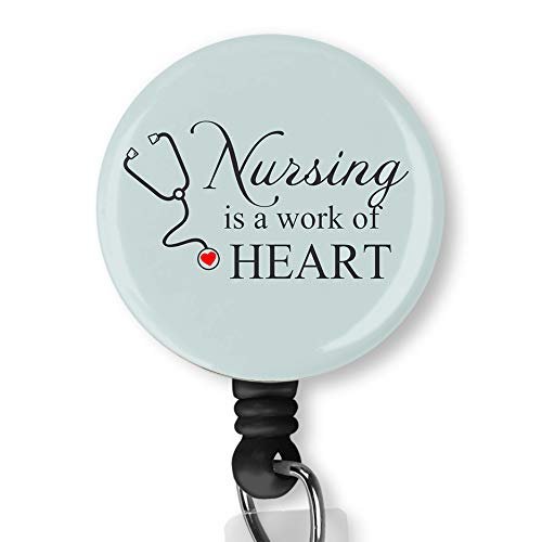 - Nursing is A Work of Heart Nurse Badge ID Card Name Tag Custom Badge Holder Nurse Decorative Badge Reel Clip on Card Holders Badge Clip