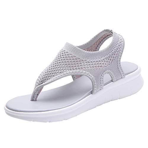 Women's Athletic Walking Shoes Casual Mesh Comfortable Work Sneakers ,Londony Flip Flops Yoga Flat Sandals Shoes Gray