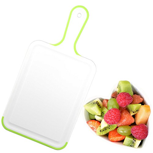 Board Green Hanging (Plastic Cutting Chopping Board With Handle & Hanging Loop Juice Groove Non-Slip BPA Free - White/Green)