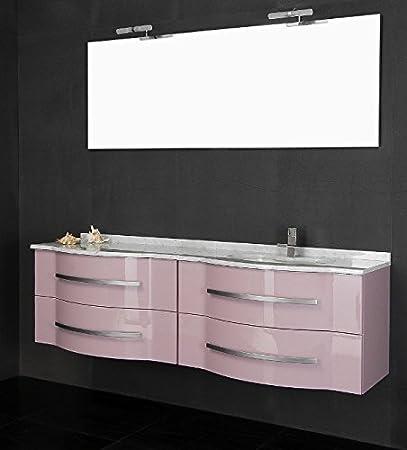 Mobile Arredo Bagno cm180 sospeso con doppio lavabo disp. in 20 ...