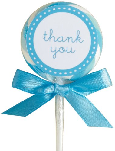 Wilton 1006-2978 Blue-White Lollipop Favor Kit, 24 Count (Baby Lollipops)