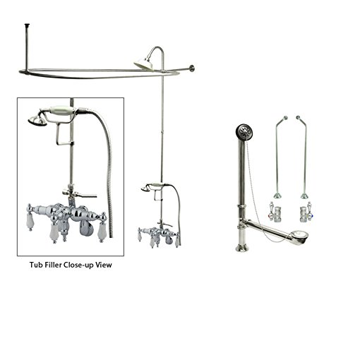 Chrome Faucet Clawfoot Tub Shower Kit with Enclosure Curtain Rod 422T1CTS