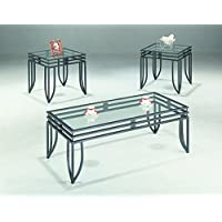 Coaster 3-Piece Occasional Table Set with Black Glass Top