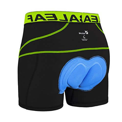 Baleaf Men's 3D Padded Bike Bicycle MTB Cycling Underwear Shorts (Green, L)
