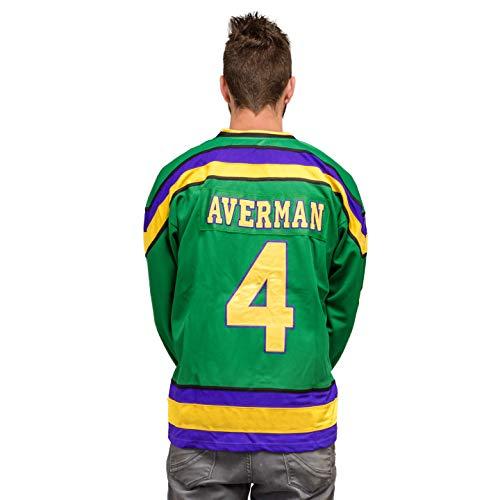 Adult Mighty Ducks Hockey Green Jersey (Small, Averman #4)