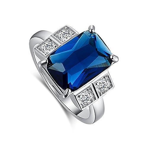 Empsoul 925 Sterling Silver Novelty Created 6.5ct Sapphire Quartz Topaz Engagement Wedding Ring - 6.5k Metal
