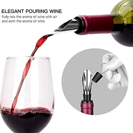 Kirmax Juego de Abridor de Vino Caja de Cuero Premium Abrebotellas de Vino con Sacacorchos de Conejo, Conjunto de Regalo de Vertedor de Vino