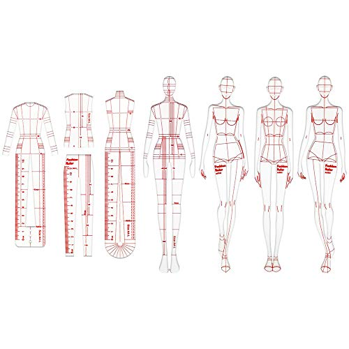 LUDING Humanoid Patterns Ruler, 8PCS Profession Fashion Illustration Rulers, Fashion Drawing Template Ruler