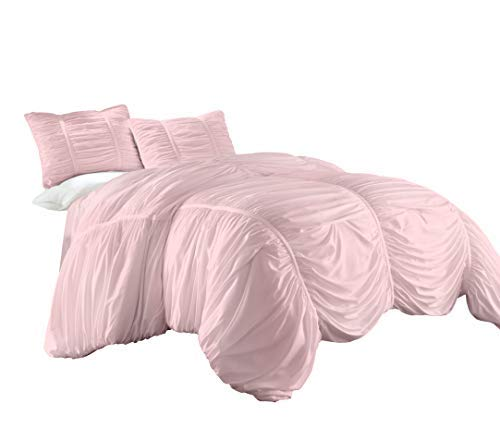Chezmoi Collection Cassandra 3 Piece Chic Ruched Duvet Cover Set (Full, Pink)