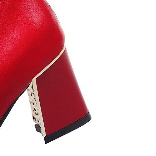AllhqFashion Damen Ziehen auf Spitz Zehe Mittler Absatz PU Leder Rein Pumps Schuhe Rot