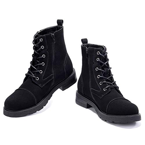 GM GOLAIMAN Work Motorcycle Boots for Men-Suede Lacing Zipper Cap Toe Winter Boot Military Tactical Combat Hiking Black 12 D (M) US