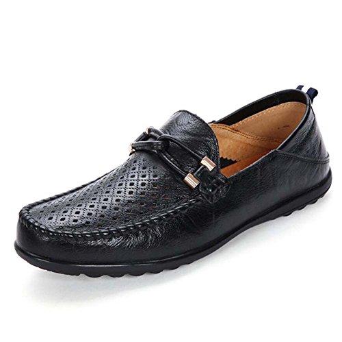 Pump Loafer Slip On Casual Chaussures Hommes Chaussures en cuir Doux Sole Sérigraphies antidérapantes Chaussures à pédale Eu Taille 37-47 Black hollow I2Zc7U