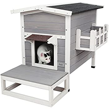 """Petsfit Weatherproof Outdoor Cat Shelter/House/Condo with Stair 27.5""""Lx17.5""""Wx20""""H"""
