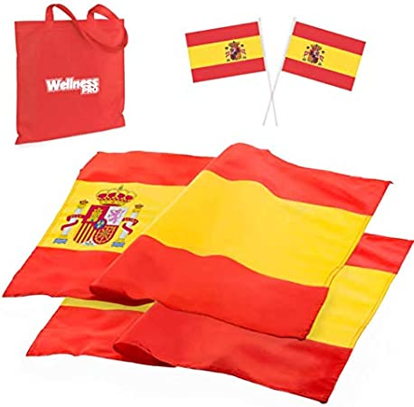 MegaPack de Gran Bandera España Balcón ó Exterior - Destaca tu Balcón - Banderines de Regalo - Material Suave y Resistente 150 x 90 cm: Amazon.es: Jardín