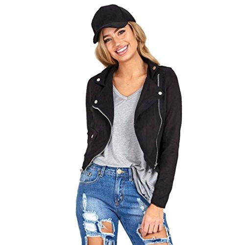 [AIMTOPPY Womens Sexy Winter Slim Biker Motorcycle Leather Jacket Zipper Coat (XL, Black)] (Biker Teen Costumes)