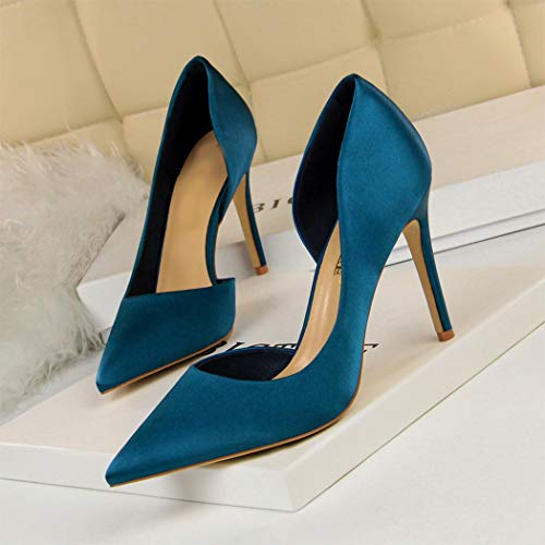 Femme Soirée Aiguille Talons Escarpin Haut Hanmax Mariage Mariée Satin Chaussures De Cocktail Bleu À wnIzq67z