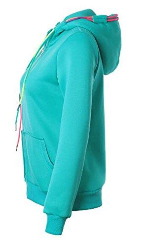 Maglie Sportiva Tasca Hoody Frontale Cerniera Manica Comode Donna Sweatshirt Forti Zip Con Blue Moda Hoodie Fit Pullover Inverno Lake Colore Felpe Felpe Maglie Casual Cappuccio Taglie Elegante Lunga Puro ww6Oq8x1v