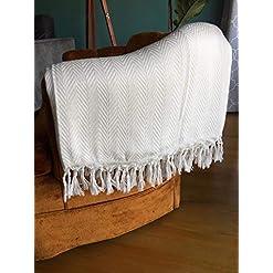 Bedroom MyMesken Boho Farmhouse Throw Blanket, Turkish Cotton White Throw Blanket with Tassels- Boho Chic Décor Large White… farmhouse blankets and throws