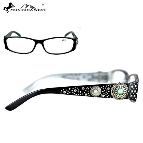 Montana West Reading Glasses Western Antique Silver Turquoise Stone Concho Black, - Glasses Style Frames Antique