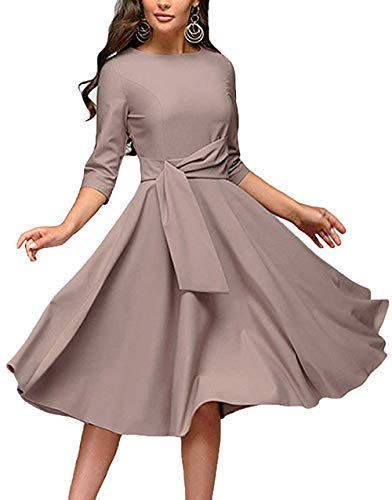Women's Elegance Audrey Hepburn Style Ruched Dresses Round Neck 3/4 Sleeve Pleated Swing Midi A-line Dress ()